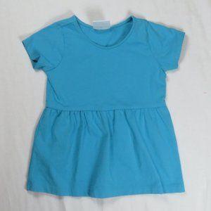 Hanna Andersson 100 4T 4 Peplum Top Shirt Blue